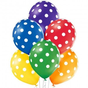 Balony POLKA DOTS MIX 6szt